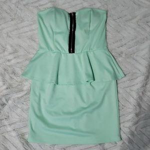 Mint green bodycon peplum dress women's medium